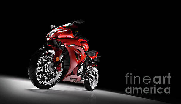 Michal Bednarek - Front view of red sport motorcycle in a spotlight