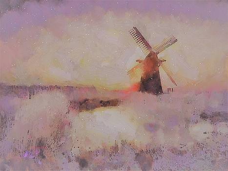 Frosty Windmill by V.Kelly by Valerie Anne Kelly