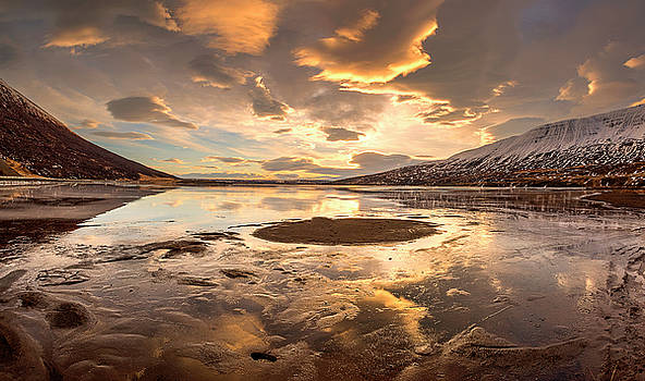 Frozen lake and mountain, Iceland by Pradeep Raja PRINTS
