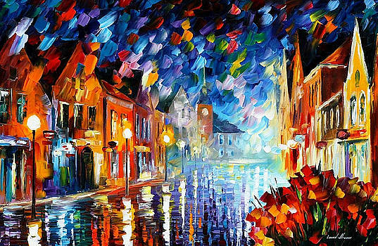 Frozen Night 2 - PALETTE KNIFE Oil Painting On Canvas By Leonid Afremov by Leonid Afremov