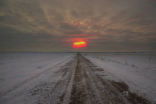 Frozen Road Sunset  by Aaron J Groen