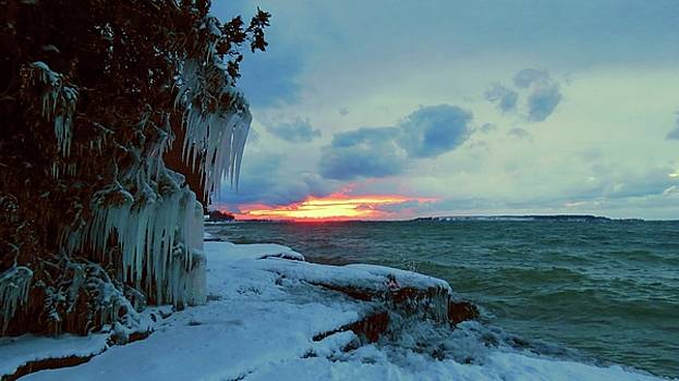Frozen Sunset in Cape Vincent by Dennis McCarthy