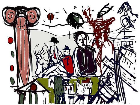 Fruehstueck im freien Berlin Mauerfall by Enzo Mastrangelo