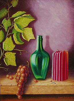 Fruit and candle by Gene Gregory