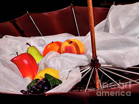 Fruit, Satin, and an Umbrella still life by Jenness Asby