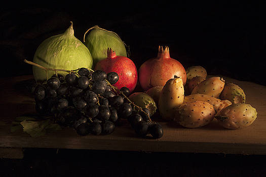Fruit with Pomegranates and prickly pears by Steve Bisgrove