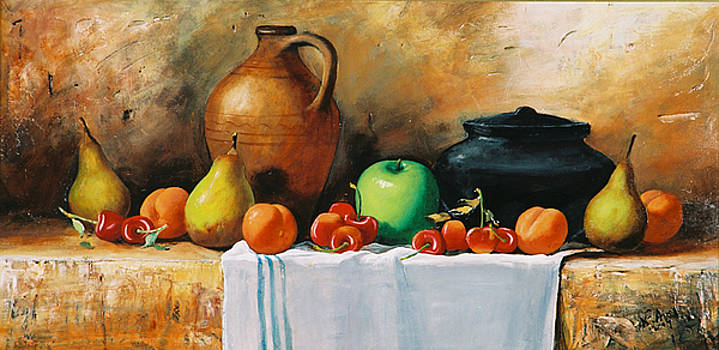 Fruits with Black Vase by Alim Adilov