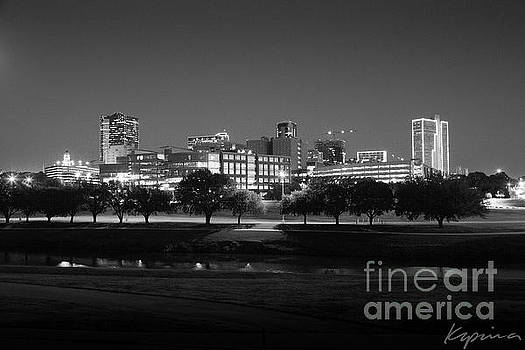Ft. Worth Texas Skyline Dusk Black and White by Greg Kopriva