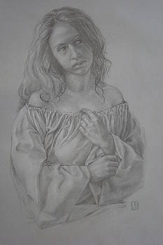 Fugure study for the Annunciation by Jennifer Soriano