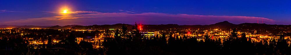 Full Blue Moon Over Eugene Oregon by Michael Cross