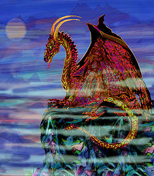Full Moon Aries Dragon on Crystal Mountain  by Michele Avanti