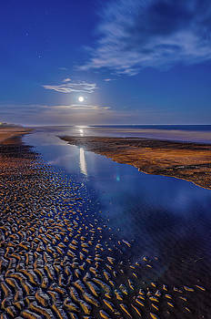 Full Moon at Folly Beach - Charleston SC  by Drew Castelhano