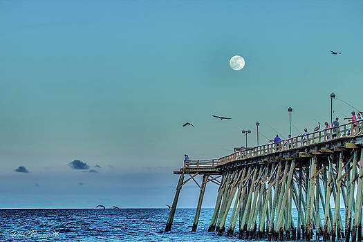 Full Moon At Kure Beach Pier by Phil Mancuso