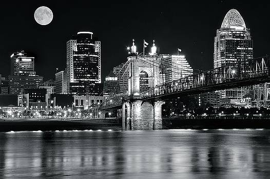 Full Moon Black Night in Cinci by Frozen in Time Fine Art Photography