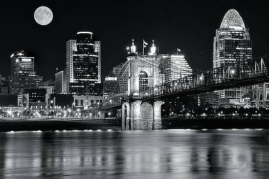 Full Moon Black Night in Cinci by Frozen in Time Fine Art Photography