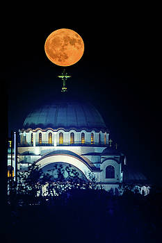 Full Moon directly over the magnificent St. Sava Temple in Belgrade by Dejan Kostic