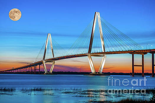 Dale Powell - Full Moon over Arthur Ravenel Jr. Bridge