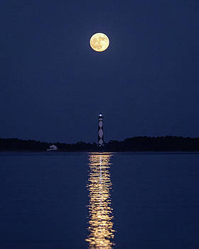 Full Moon over Cape Lookout Light by M C Hood