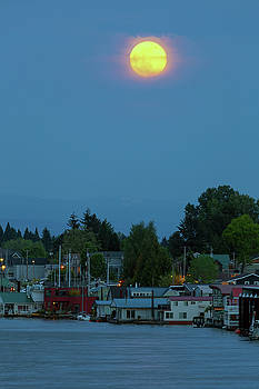 Full Moon Over Floating Homes on Columbia River by David Gn