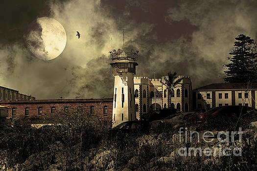 Wingsdomain Art and Photography - Full Moon Over Hard Time San Quentin California State Prison 7D18546 v2 sepia