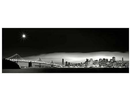 Full Moon over San Francisco Skyline by Blake Smith