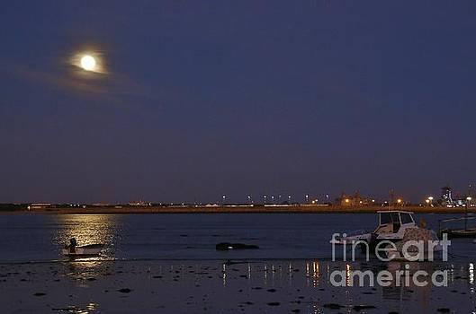 Full Moon over the Fishing Boats by Tony Lee