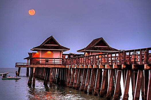 Toby McGuire - Full Moon over the Naples Pier at Sunrise Naples Florida Blue Moon