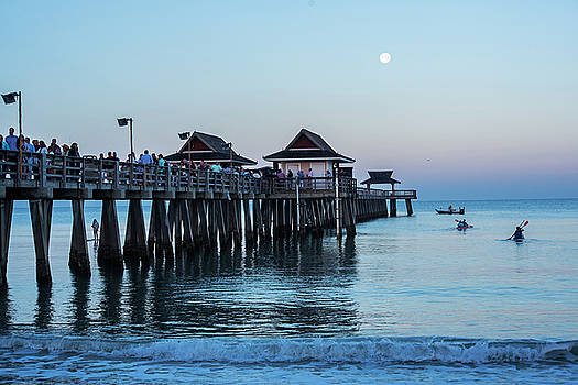 Full Moon over the Naples Pier at Sunrise Naples Florida by Toby McGuire