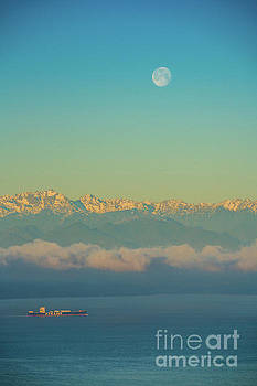 Full Moon Over the Olympics at Sunrise by Mike Reid