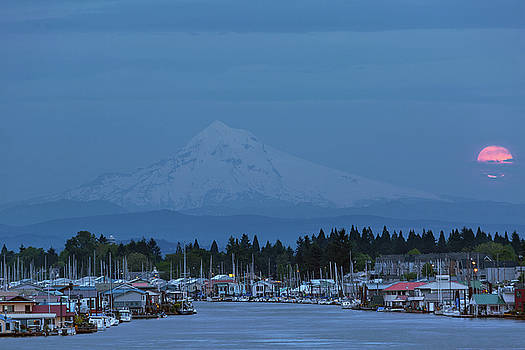 Full Moon Rising at Hayden Island by David Gn