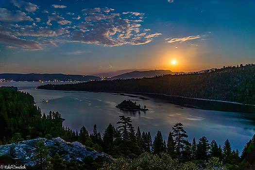 Full Moon Rising on Emerald Bay by Mike Ronnebeck