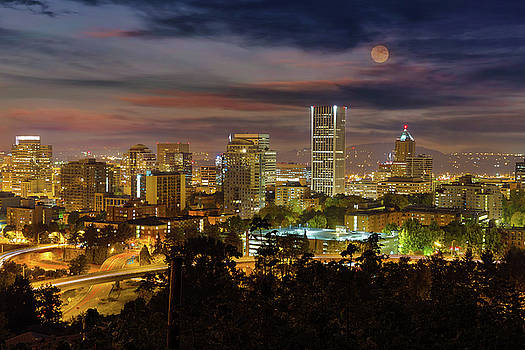 Full Moon Rising over Downtown Portland by David Gn