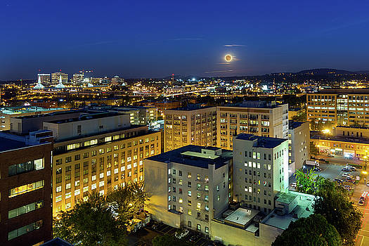 Full Moon Rising over Portland Downtown by David Gn