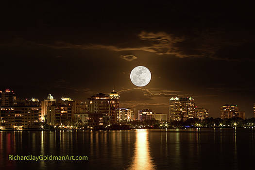 Full Moon Rising Over Sarasota by Richard Goldman