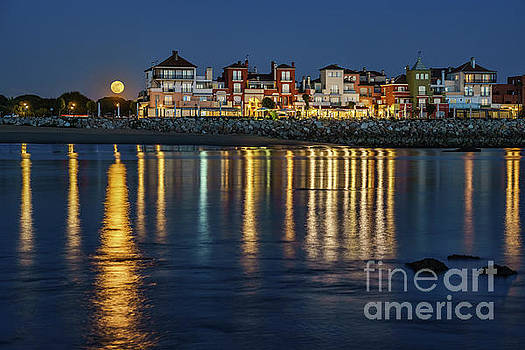 Full Moonrise Over Sailor's Town Puerto de Santa Maria Spain by Pablo Avanzini