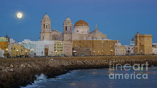 Full Moonrise Over the Cathedral Cadiz Spain by Pablo Avanzini