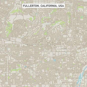 Fullerton California US City Street Map by Frank Ramspott
