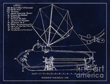 Tina Lavoie - Fultons Nautilus Submarine blueprint drawing circa 1798