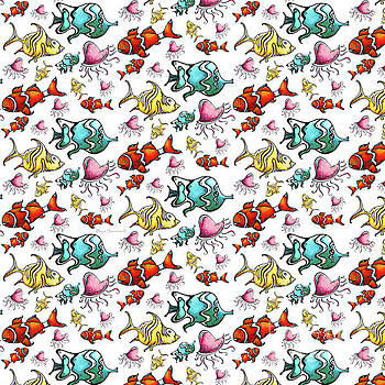 Fun Colorful Tropical Fish Pattern for Kids by Megan Duncanson by Megan Duncanson