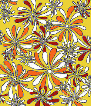 Fun Funky Abstract Flower Pattern Floral Fiesta 6 by Megan Duncanson by Megan Duncanson