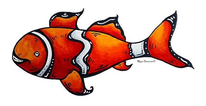 Fun Funky Clown Fish Icon Painting by Megan Duncanson by Megan Duncanson