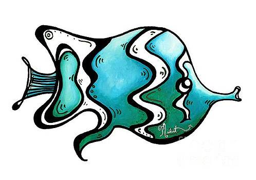 Fun Whimsical Blue Tropical fish Icon by Megan Duncanson by Megan Duncanson