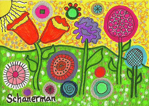 Funky Flowers All In A Row by Susan Schanerman