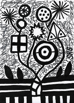 Funky Flowers In Black And White 2 by Susan Schanerman