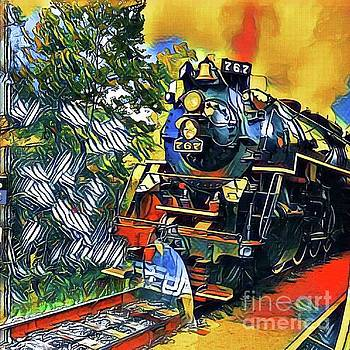 Funky Locomotive Steam Engine by The Art of Alice Terrill