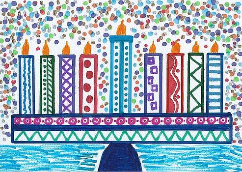 Funky Menorah  by Susan Schanerman