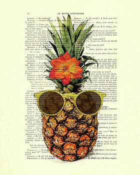 Funny And Cute Pineapple Art by Madame Memento