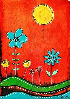 Funny flowers on red background by Alexandra Schumann