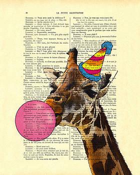 Funny giraffe, dictionary art by Madame Memento