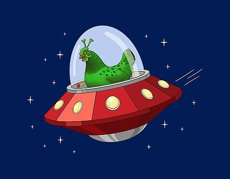 Funny Green Alien Martian Chicken In Flying Saucer by Crista Forest